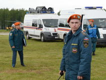 Unknown rescuer at the training ground of the Noginsk rescue center of the Ministry of Emergency Situations during the Internation. NOGINSK, RUSSIA - JUNE 6 stock image