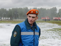 Unknown rescuer at the training ground of the Noginsk rescue center of the Ministry of Emergency Situations during the Internation Royalty Free Stock Photography