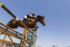 Unknown rider on a horse during competition matches riding round Royalty Free Stock Photos
