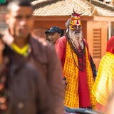 Unknown Sadhu Monk in Durbar Square, Dec 2, 2013 in Kathmandu, Nepal. Stock Photography