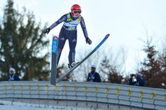 Unknown ski jumper competes Royalty Free Stock Images
