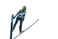 Unknown ski jumper. Rasnov, Romania - March 1: Unknown ski jumper competes in the FIS Ski Jumping World Cup Ladies on March 1, 2014 in Rasnov, Romania Stock Images