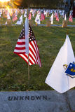 Unknown Soldier at Gettysburg. Gettysburg, PA, USA - November 15, 2014 :  Sun drenching flags placed for the 12th Annual Luminary Ceremony at Soldiers Cemetery Stock Photos