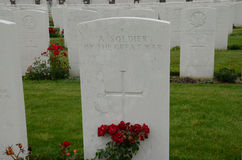 Unknown soldier's grave at Tyne Cot Cemetery near Ypres, Belgium Royalty Free Stock Images
