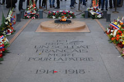 Unknown Soldier Triomphe. PARIS, FRANCE - October 30: The Tomb of the Unknown Soldier at the Arc de Triomphe in Paris, France on October 30, 2012 Stock Photo