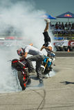 Unknown stunt bikers entertain the audience Stock Photography
