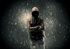 Unknown suspect standing in the dark Stock Photography