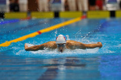 Unknown swimmer competing Stock Images
