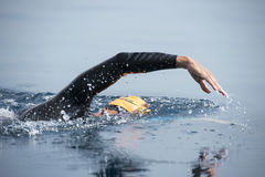 Unknown Swimmer at sea. Royalty Free Stock Images
