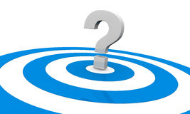 Unknown target. One target with a question mark on center, concept of an unknown target or unknown strategy to reach the goal (3d render Stock Image