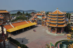 Unknown tourists visit Chinese shrine in Chonburi,Thailand. Royalty Free Stock Photo
