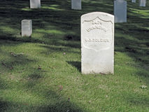 Unknown US Soldier Sunlit Headstone. Royalty Free Stock Photography