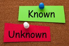 Known Unknown Concept. Unknown versus Known words on colorful stickers pinned on cork board. Business concept stock image