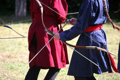 Unknown warrior girls on a historical combat show Stock Photo