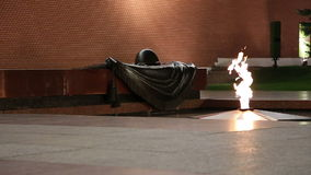 Unknown Warrior memorial in Moscow(night), Russia. Eternal flame at the Tomb of the Unknown Soldier in the Alexander Garden to honor the dead of the Great stock video