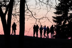 Unknown young people enjoy the sunset. Silhouettes of young people taking pictures of the sunset royalty free stock photos