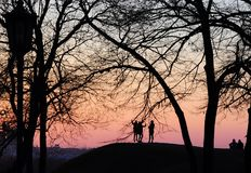 Unknown young people enjoy the sunset. Silhouettes of young people taking pictures of the sunset royalty free stock photography