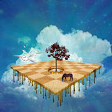 Unknowns. High resolution 3D illustration of surreal melting hovering field