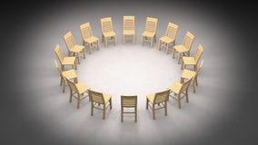 Unkosten der Kreisreihe einfacher hölzerner Stühle lizenzfreie abbildung