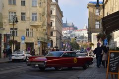 Unkown Red Car in Prague royalty free stock photography