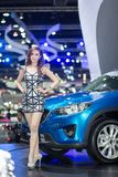 Unkwon-Modell im sexy Kleid an der 30. internationalen Bewegungsausstellung Thailands Lizenzfreie Stockfotos