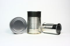Unlabeled Cans. Three unlabeled cans against a white background Royalty Free Stock Photos