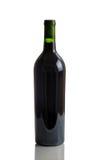 Unlabeled Pełna butelka czerwone wino Obraz Stock