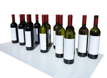 Unlabeled Wine Bottles Isolated over white Royalty Free Stock Photo
