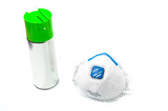 Spray can and surgical mask Stock Photography