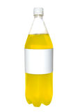 Unlabled bottle. Unlabeled soda bottle with yellow liquid in it Stock Image