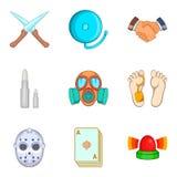 Unlawful act icons set, cartoon style Royalty Free Stock Photo
