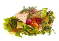 Unleavened bread with vegetables Royalty Free Stock Images