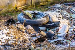 Unlegal dump near forest Royalty Free Stock Photography