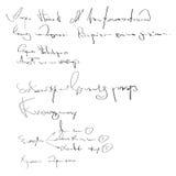 Unleserliche Handschrift des Vektors Schwarzweiss-Skripthintergrund Skizze der Schreibenskalligraphieschablone Stockfotos