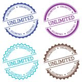 Unlimited badge isolated on white background. Flat style round label with text. Circular emblem vector illustration Royalty Free Stock Photo
