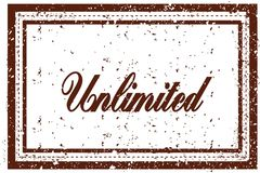 UNLIMITED brown square distressed stamp. Illustration image Royalty Free Stock Photography