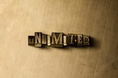 UNLIMITED - close-up of grungy vintage typeset word on metal backdrop. Royalty free stock - 3D rendered stock image.  Can be used for online banner ads and Royalty Free Stock Image