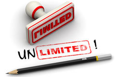 Unlimited! Corrected seal impression. Red seal and imprint `LIMITED` corrected to `UNLIMITED!` on white surface. Isolated. 3D Illustration Royalty Free Stock Image