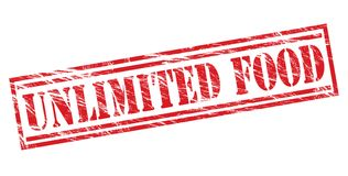 Unlimited food red stamp. Isolated on white background Royalty Free Stock Photos