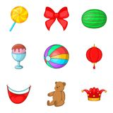 Unlimited fun icons set, cartoon style Royalty Free Stock Image