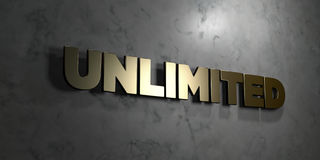 Unlimited - Gold sign mounted on glossy marble wall - 3D rendered royalty free stock illustration. This image can be used for an online website banner ad or a royalty free illustration