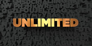 Unlimited - Gold text on black background - 3D rendered royalty free stock picture. This image can be used for an online website banner ad or a print postcard Royalty Free Stock Photos