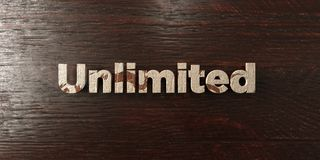 Unlimited - grungy wooden headline on Maple  - 3D rendered royalty free stock image Royalty Free Stock Photo