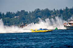 Unlimited Hydro Race Boat. Unlimted hydro race boat along the log boom at Seafair on lake washington in seattle wa Royalty Free Stock Photo