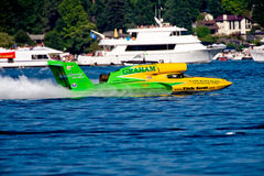Unlimited Hydro Race Boat. Along the log boom at Seafair on lake washington in seattle wa Royalty Free Stock Image