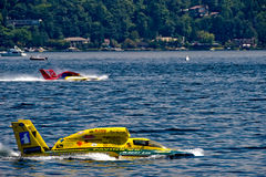 Unlimited Hydro Race Boats. Unlimted Hydro Race boat on Lake Washington Seafair Sunday in Seattle WA Royalty Free Stock Photos