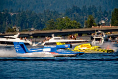 Unlimited Hydro Race Boats. Unlimited hydro race boat along the log boom at Seafair on lake washington in seattle wa Royalty Free Stock Photos