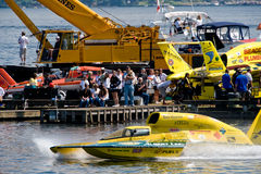 Unlimited Hydro Race Pits. Race hydro leaving the Unlimted Hydro Race pits on Lake Washington Seafair Sunday in Seattle WA Stock Images