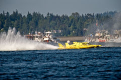 Unlimited Hydro Racing Boat. Unlimted hydro race boat along the log boom at Seafair on lake washington in seattle wa Stock Photos
