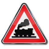 Unlimited railroad crossing and steam. Locomotive royalty free illustration